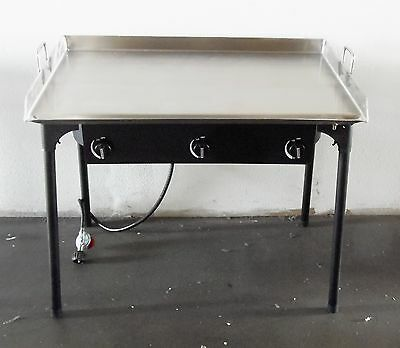 HEAVY 36 inch Wide Stainless Steel Flat Top Griddle Grill + Triple Burner Stove