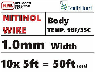 Thick BODY TEMP 1mm TRAINED NITINOL WIRE 50ft 10x5ft PROJECT PACK 98f/35c NIB