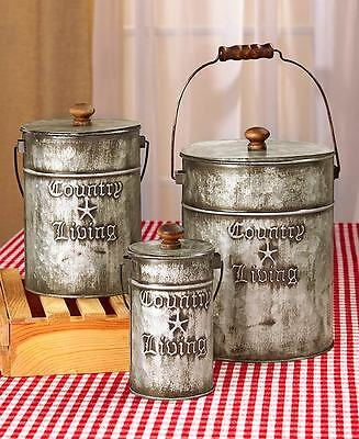 Set of 3 Galvanized Canisters Country Living Home Accents Rustic Storage Tin