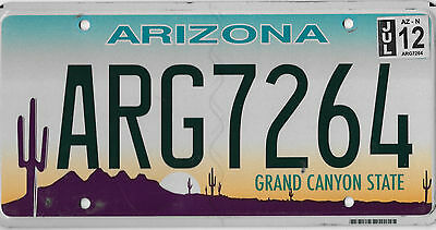 2012 Arizona Grand Canyon License Plate Arg 7264 Arg Pirate Excellent Bcplateman