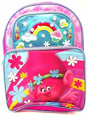 "Dreamworks Trolls Girls 16"" Canvas Blue & Pink School Backpack - Poppy Cupcakes"
