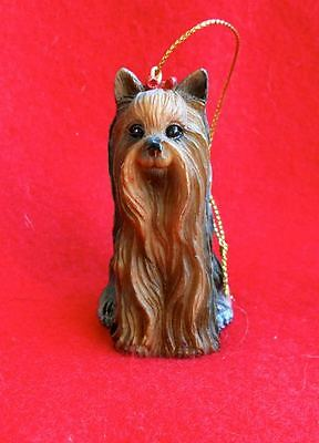 Vintage Stone Resin Yorkshire Terrier Ornament Realistic Dog