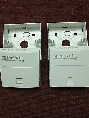 2 x New Original Genuine BT Openreach Phone Master Sockets NTE5C + 2x back box