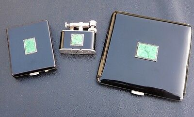 Very Rare Dunhill Art Deco Diamond,Jade,Silver and Black Lacquer Evening Suite
