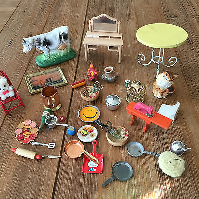 30+ Vintage Doll House Miniatures Plastic Table Cat Sewing Machine Misc Pieces