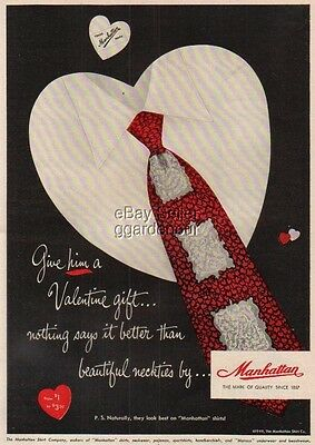 1949 Valentine gift~Men's Fashion~Manhattan Shirt Co Vintage Magazine Print Ad