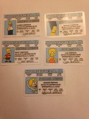 Set Of 5 Simpsons Novelty ID Driving Cards