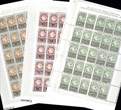 Spain 1965 Centenary of Spanish Stamps , 3 Full Sheets, Sc 1327-1329 , MNH