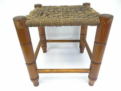 Vintage Used Four Legged Woven String Furniture Stool Ottoman Stand Old
