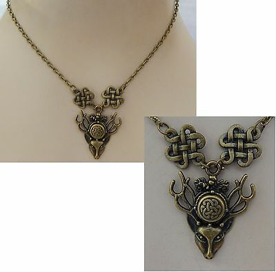 Gold Celtic Knot Stag Pendant Necklace Jewelry Handmade Adjustable Chain NEW