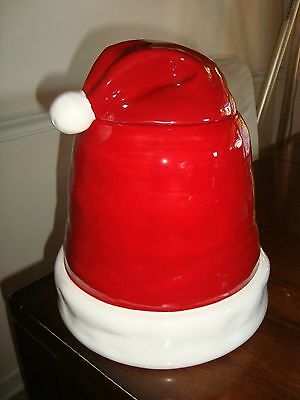Pottery Barn Christmas Santa Hat Cookie Jar  NEW