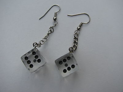 Vintage Novelty Clear Lucite Black Dots Game Dice Drop Dangle Pierced Earrings