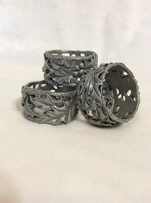 Set of 4 Longaberger Pewter Napkin Rings, American Holly Design