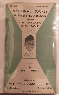 1933-1934 National Hockey League Guide And Record Book