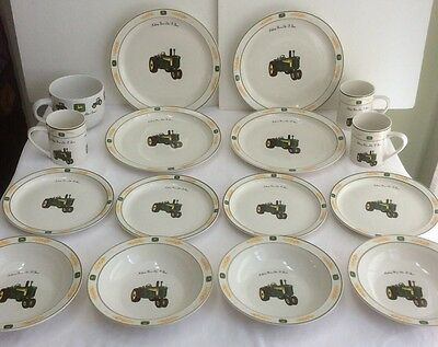 16 Pieces JOHN DEERE Dishes by GIBSON Nothing Runs Like A Deere