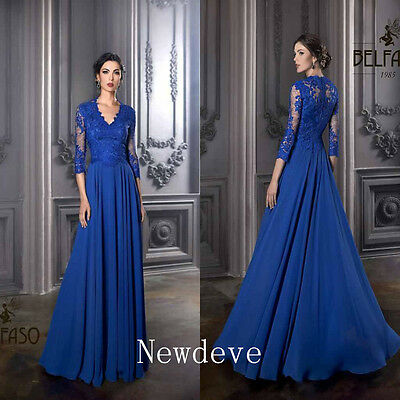 Royal Blue V Neck Mother of Bride Dress 3/4 Sleeve A Line Prom Party Gown Custom