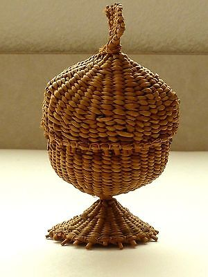 Rare Antique Handwoven Eggcup With Inside Lining!