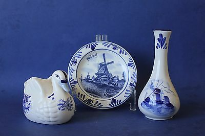 Vintage Delft Blue & White Dutch vase, plate & swan ornaments.