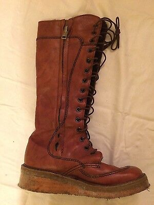 Vintage 70s Hippy Brown Leather Lace Up Boots Size 9.5 - 10 Fleece Lined Warm