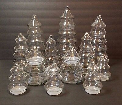 12 Vtg Glass Xmas Tree Apothecary Candy Cookie Jar Canister Holiday Wedding Lot