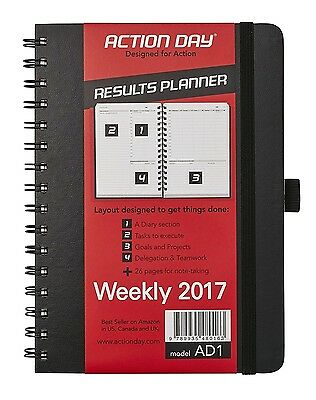 Action Day Planner 2017 Yearly Calendar : Daily Weekly Monthly Yearly Organizer
