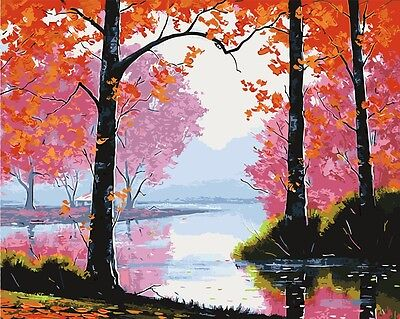 Paint by Number kit West Lake Late Autumn Red Leaves Maples Fall Season BB7667