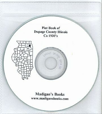 DuPage Co Illinois IL 1930's  Atlas  plat book genealogy  history land owners CD