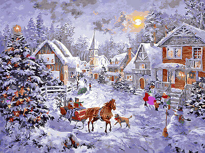 Painting by Number kit Merry Christmas Holiday Warm Town Horse Tree DIY BB7672