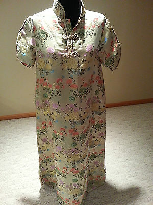 Chinese woman ladies gold long dress Ethnic Asian top skirt size M free ship