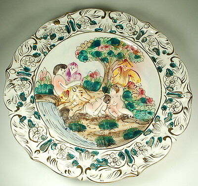 Capodimonte Made In Italy Porcelain Gilded Ornate Decorative Hanging Plate