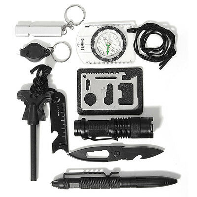 10 in 1 Professional Survival Kit Outdoor Travel Hike Field Camp Emergency Tools