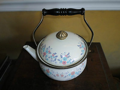 Gas Electic Metal Enamel Pink Purple Turqouise Flowers Gold Knob Teapot With Lid