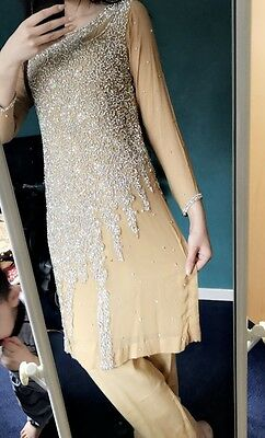 Short Kameez Style Indian Pakistani Heavy Party Wedding Suit Golden With Crystal