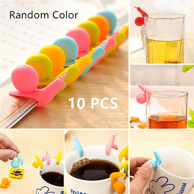 10pcs Snail Shape Silicone Tea Bag Clip Holder Cup Mug Drinking Candy Tools New