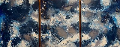 MODERN ORIGINAL ABSTRACT CANVAS PAINTINGS x 3 BLUE WHITE SILVER DEE'S FUNKY ART
