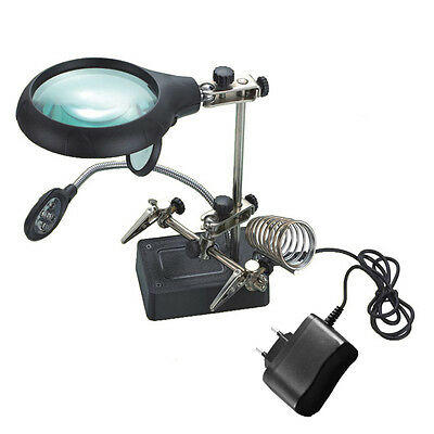 220V 5LED Helping Hand Solder Iron Stand Holder Magnifier  PC Repair 90mm