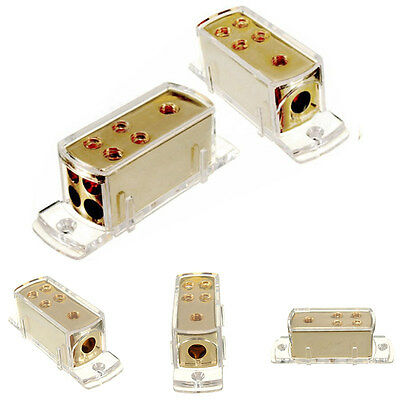 Gold Plated Car Audio Stereo Amp Power Cable Splitter Distribution Block+Cap