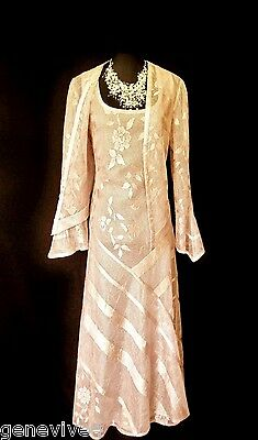 DAMIANOU Size 12 Pink Silver Lacy Ladies Designer Wedding Dress & Jacket Outfit