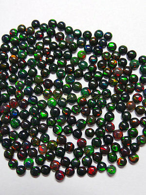 10 Pieces Lot 3mm Black Opal Cabochon Round Loose Gemstone Natural Black Opal