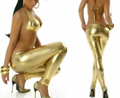 Sexy Damen Hüft Leggings glanz leder metallic lack wet Look XS S Freesize gold