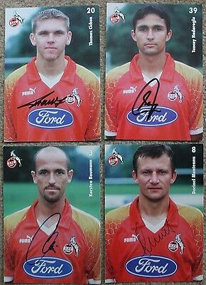 Bundle 1.FC KOLN Hand SIGNED x4 6x4 PICTURE Card's Germany Germany 1997