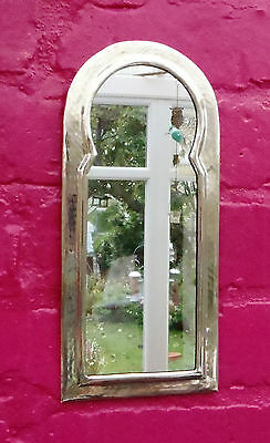 Hand Crafted*  MOROCCAN BEATEN METAL SILVER COLOUR  KEYHOLE ARCH SHAPED MIRROR*
