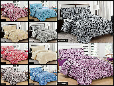 3 Pieces Diana Jacquard Quilted Bedspread Comforter Bed Set Super King Size