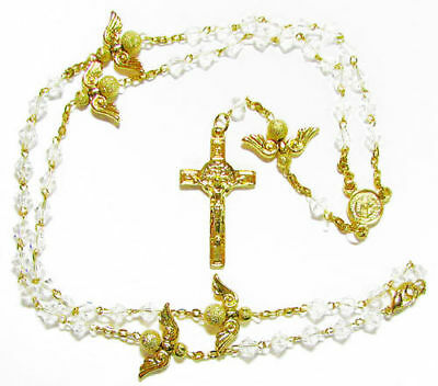 Gold shimmering Angels rosary beads necklace clear glass bicone beads and clasp