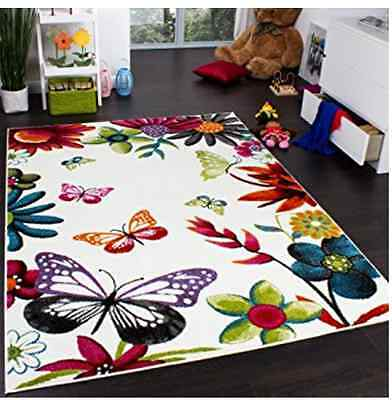 Kids' Rug Carpet Multicoloured Butterfly Cream Children Bedroom Playroom Floor