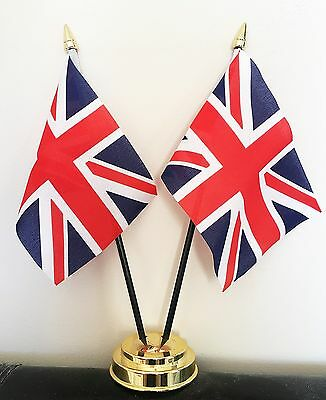 UNION JACK UNITED KINGDOM TABLE FLAG SET 2 flags plus GOLDEN BASE GREAT BRITAIN