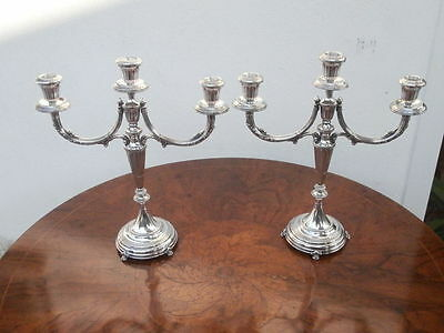 Pair of silver candelabras candlesticks, three lights, Italy, Florence, ca. 1950