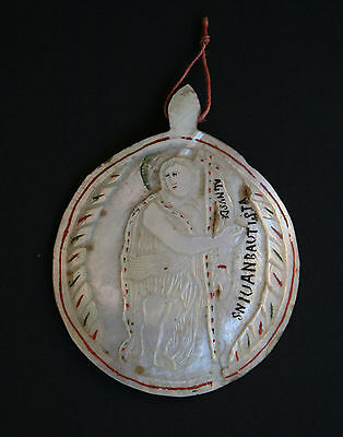 Antique Spanish Colonial South American Mexican Pilgrim Badge Mother Of Pearl