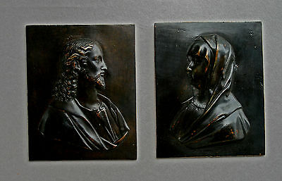 PAIR ANTIQUE BRONZE PLAQUES JESUS MARY FRENCH 1600's