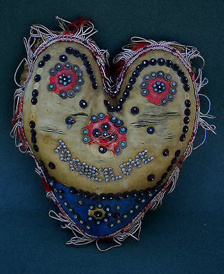 "Antique English Valentine Pin Cushion ""to One I Love"" Love Token Romantic Gift"